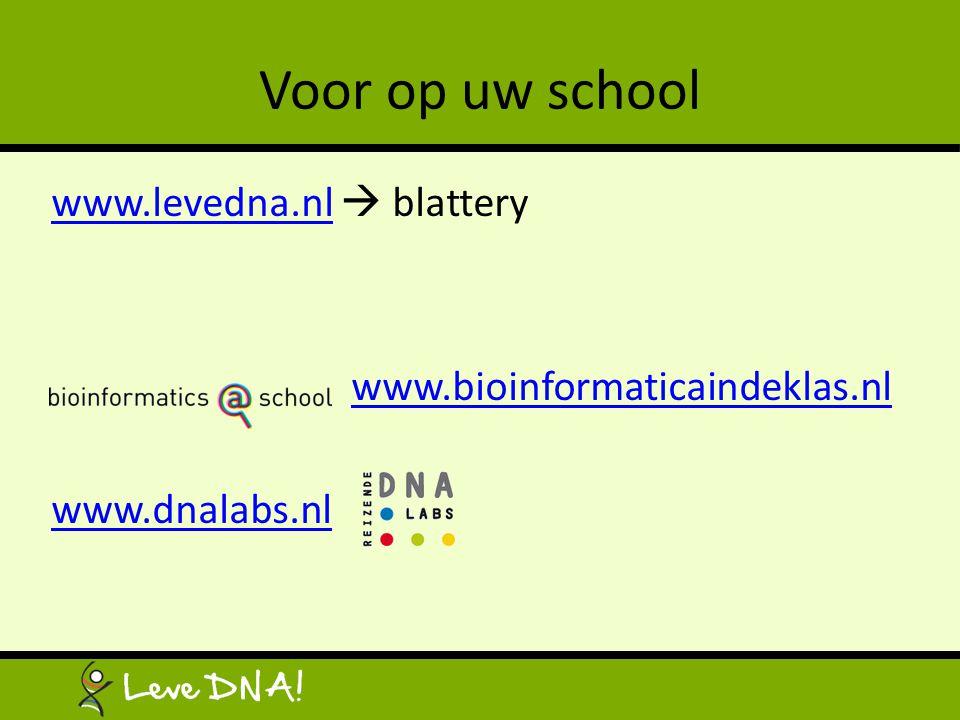 Voor op uw school www.levedna.nl  blattery www.bioinformaticaindeklas.nl www.dnalabs.nl