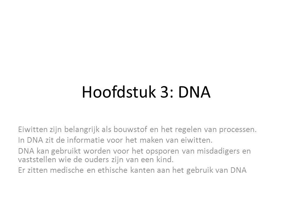Hoofdstuk 3: DNA Eiwitten zijn belangrijk als bouwstof en het regelen van processen. In DNA zit de informatie voor het maken van eiwitten.
