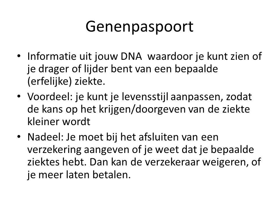 Genenpaspoort Informatie uit jouw DNA waardoor je kunt zien of je drager of lijder bent van een bepaalde (erfelijke) ziekte.