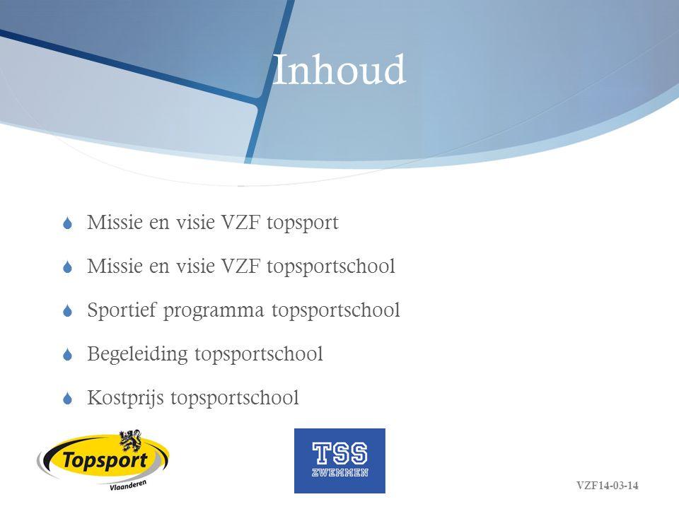 Inhoud Missie en visie VZF topsport Missie en visie VZF topsportschool