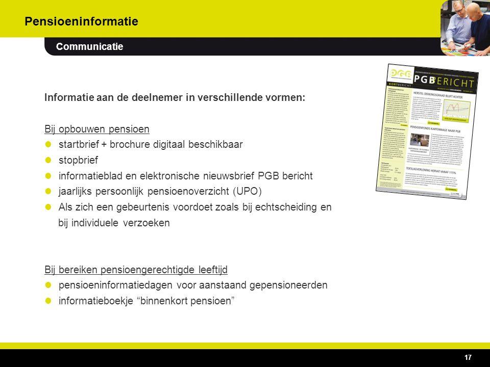 Pensioeninformatie Communicatie. Informatie aan de deelnemer in verschillende vormen: Bij opbouwen pensioen.