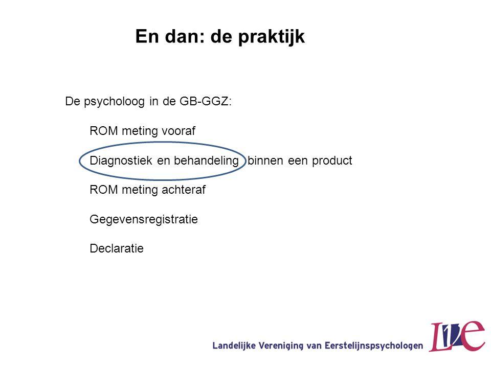 En dan: de praktijk De psycholoog in de GB-GGZ: ROM meting vooraf