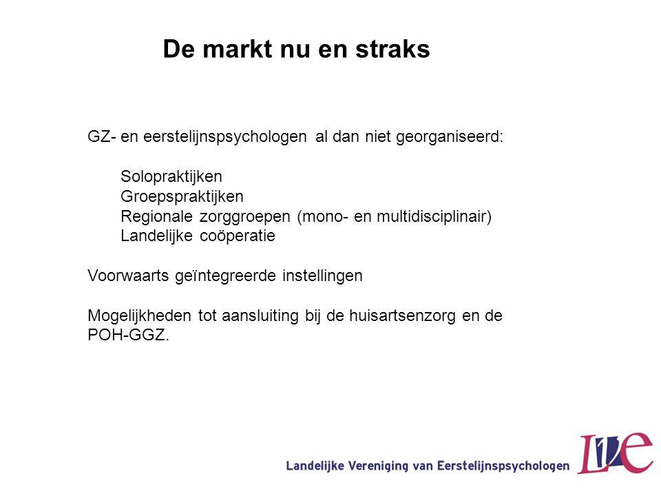 De markt nu en straks GZ- en eerstelijnspsychologen al dan niet georganiseerd: Solopraktijken. Groepspraktijken.