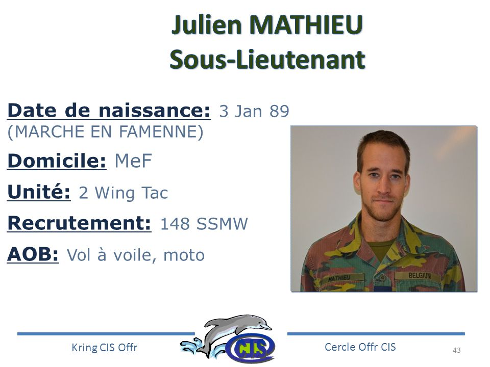 Julien MATHIEU Sous-Lieutenant