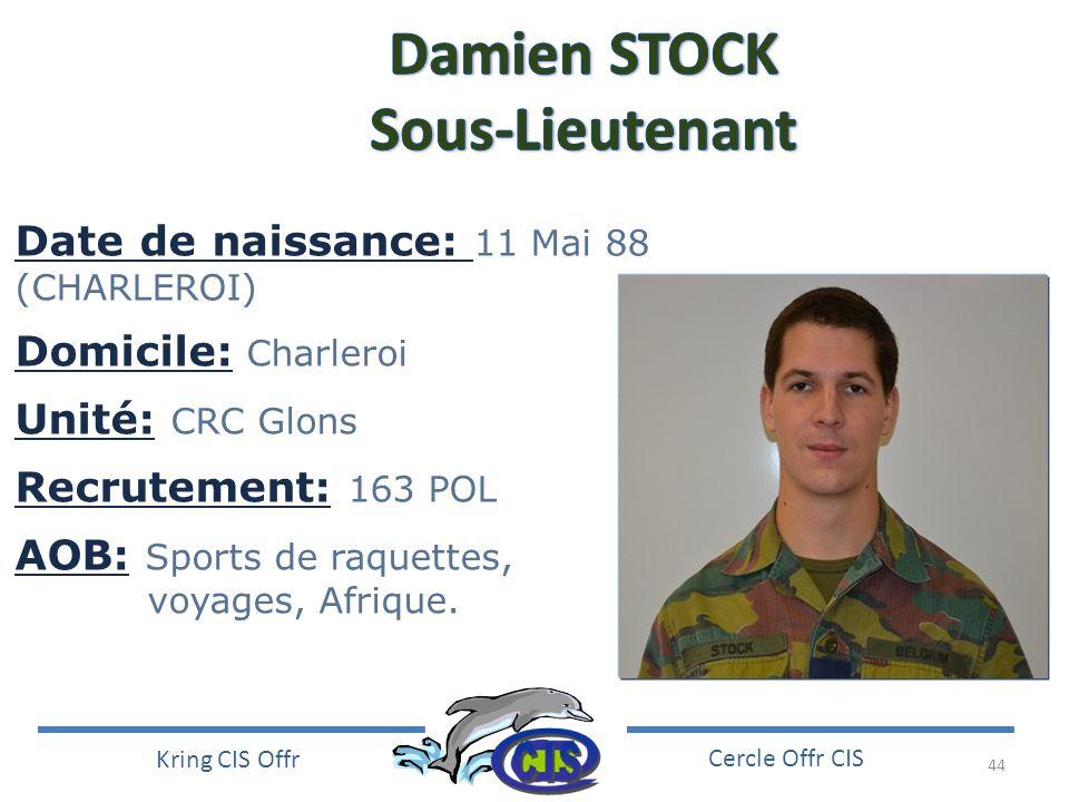 Damien STOCK Sous-Lieutenant