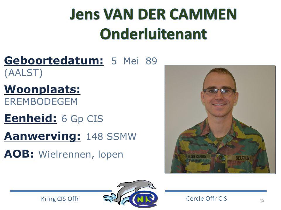 Jens VAN DER CAMMEN Onderluitenant