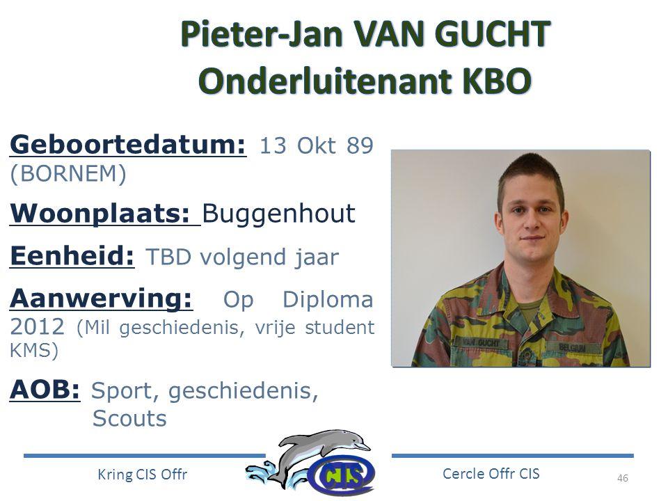 Pieter-Jan VAN GUCHT Onderluitenant KBO