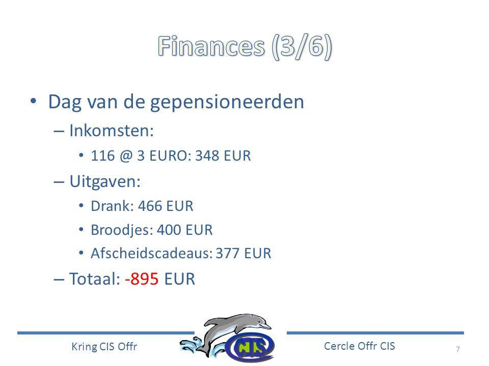 Finances (3/6) Dag van de gepensioneerden Inkomsten: Uitgaven: