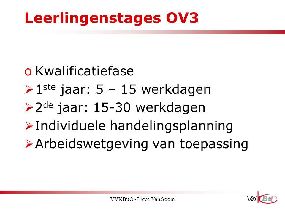 Leerlingenstages OV3 Kwalificatiefase 1ste jaar: 5 – 15 werkdagen
