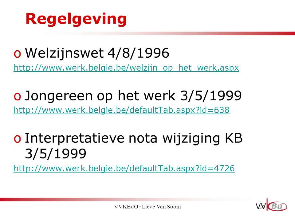 Regelgeving Welzijnswet 4/8/1996 Jongereen op het werk 3/5/1999