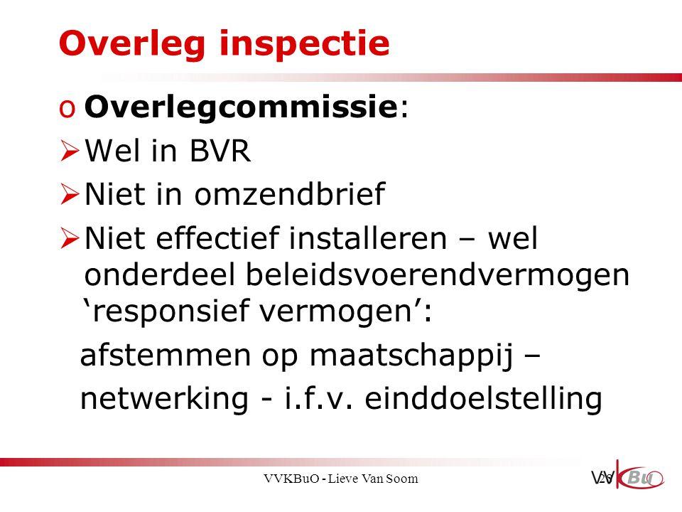 Overleg inspectie Overlegcommissie: Wel in BVR Niet in omzendbrief