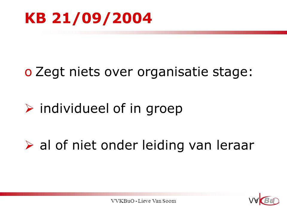 KB 21/09/2004 Zegt niets over organisatie stage: