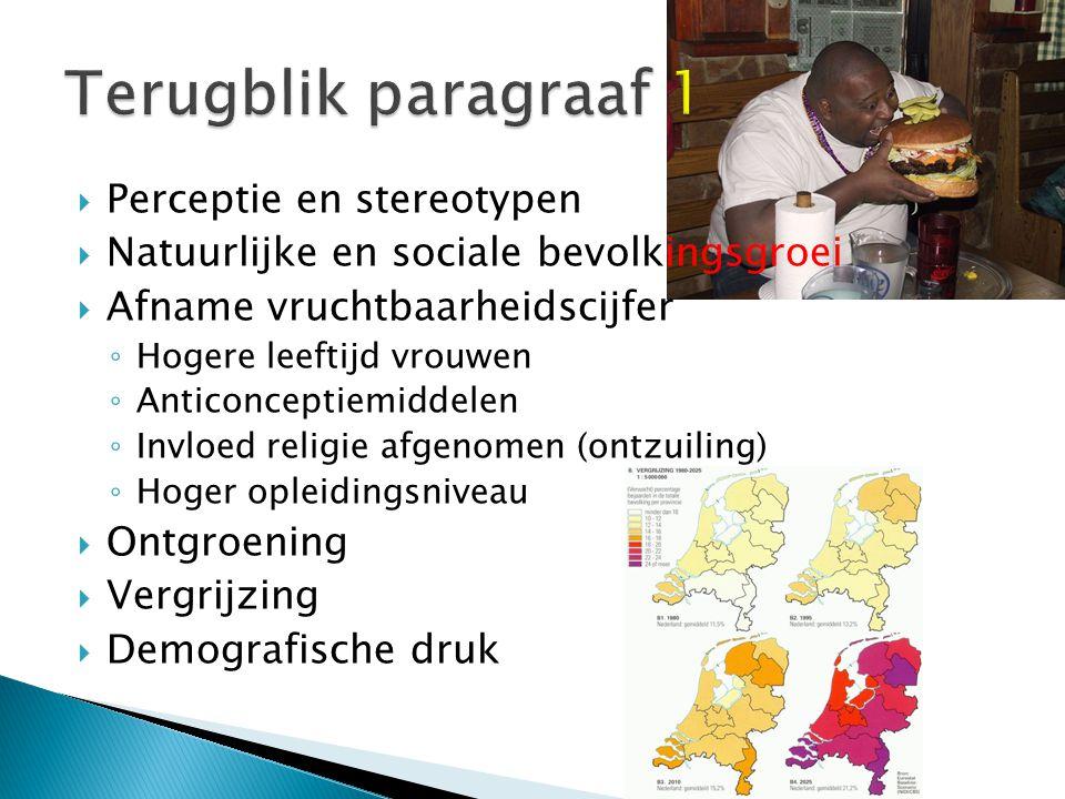 Terugblik paragraaf 1 Perceptie en stereotypen