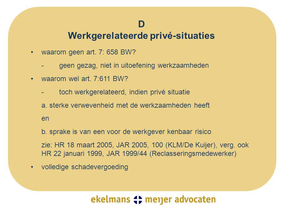 D Werkgerelateerde privé-situaties