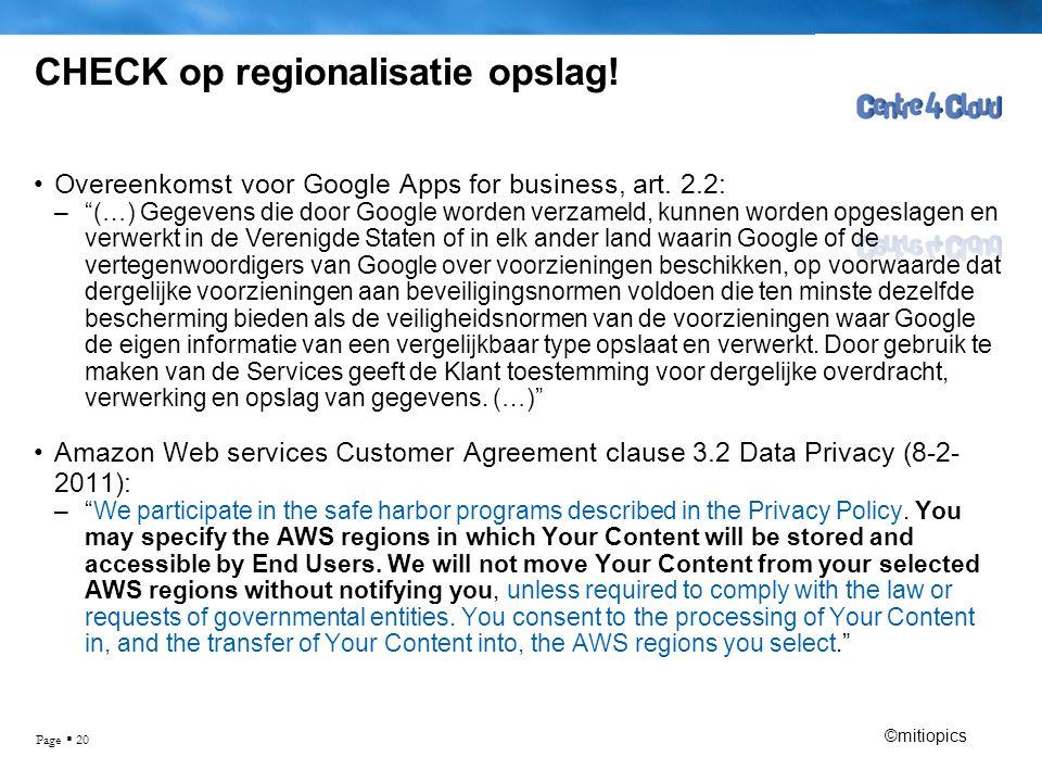 CHECK op regionalisatie opslag!