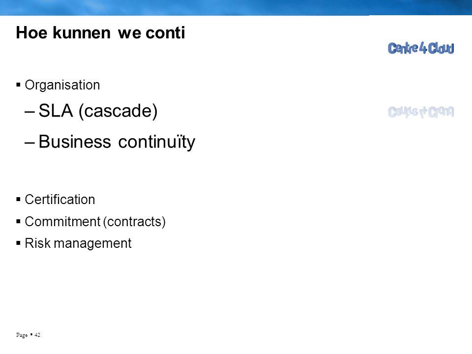 SLA (cascade) Business continuïty Hoe kunnen we conti Organisation