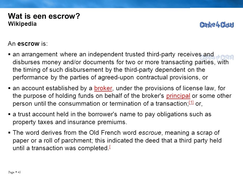 escrow clause in contract
