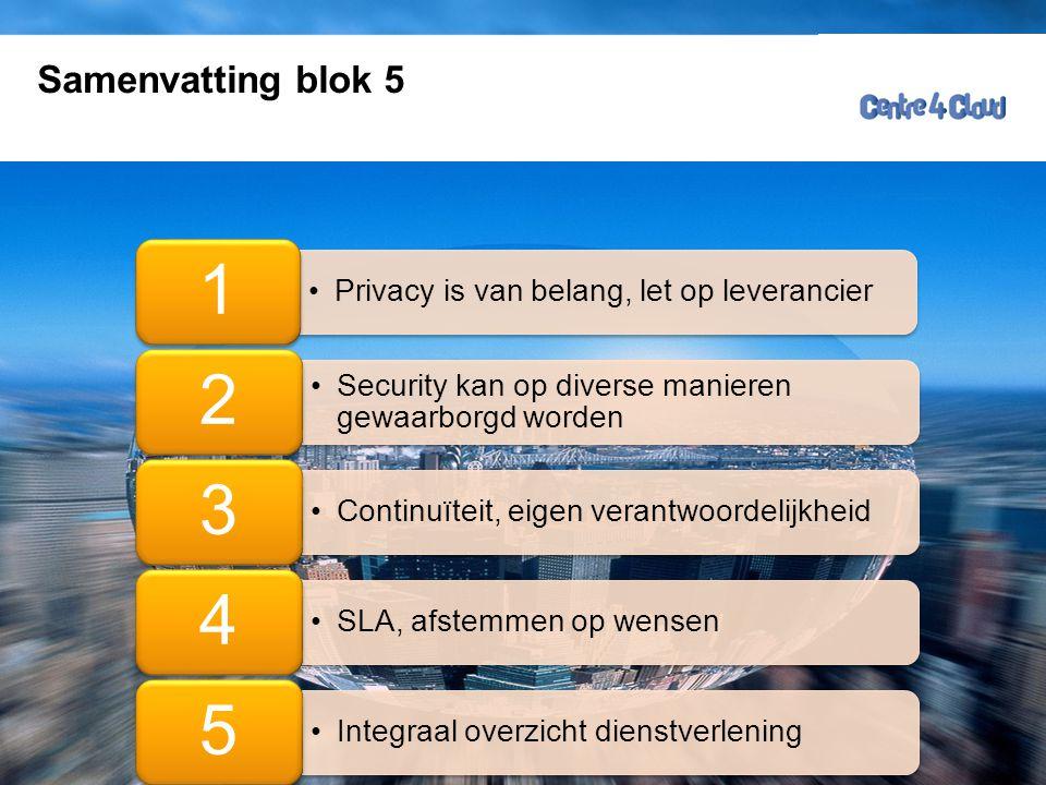 Samenvatting blok 5 Privacy is van belang, let op leverancier. 1. Security kan op diverse manieren gewaarborgd worden.