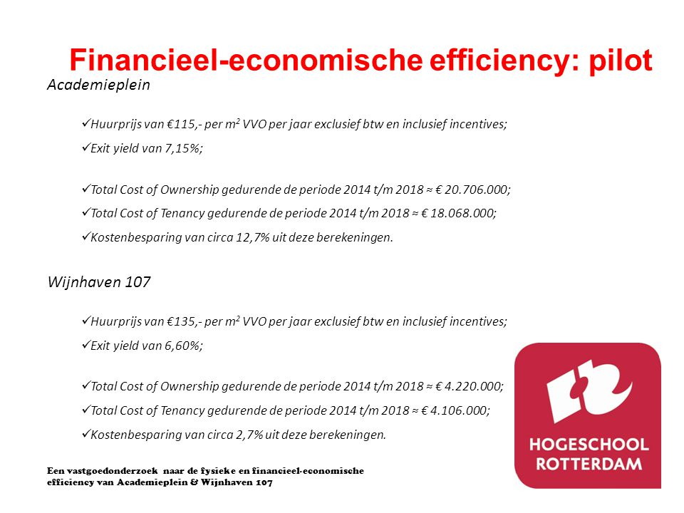 Financieel-economische efficiency: pilot