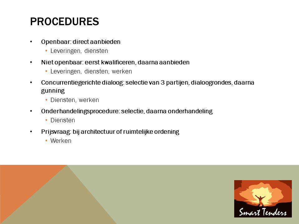 Procedures Openbaar: direct aanbieden Leveringen, diensten