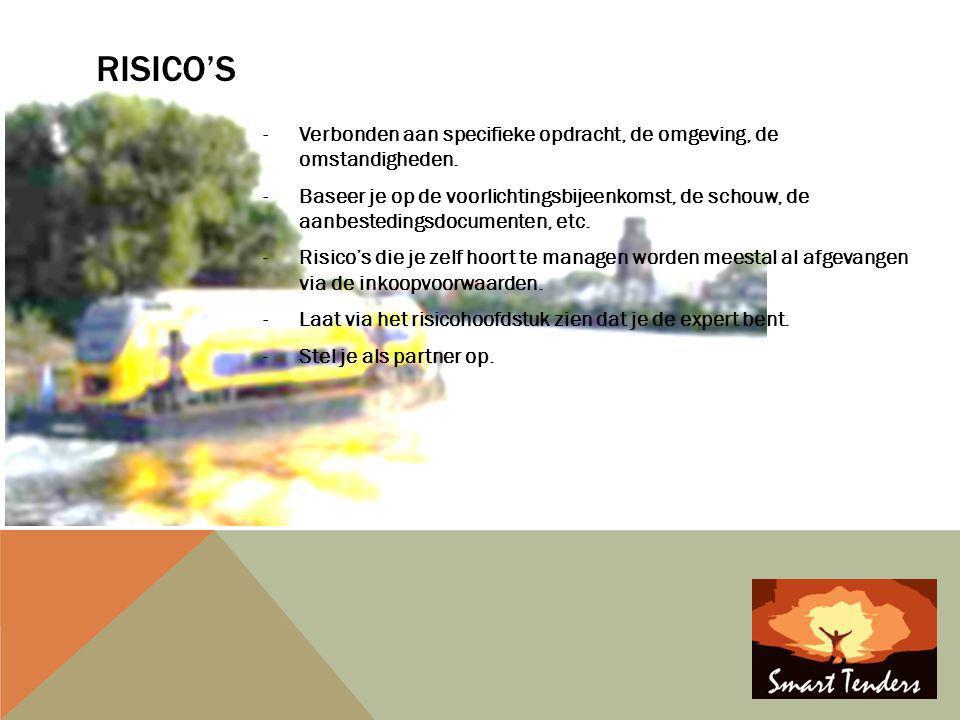 Risico's Verbonden aan specifieke opdracht, de omgeving, de omstandigheden.