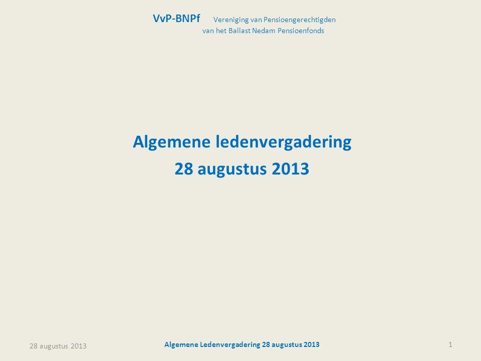 Algemene ledenvergadering 28 augustus 2013