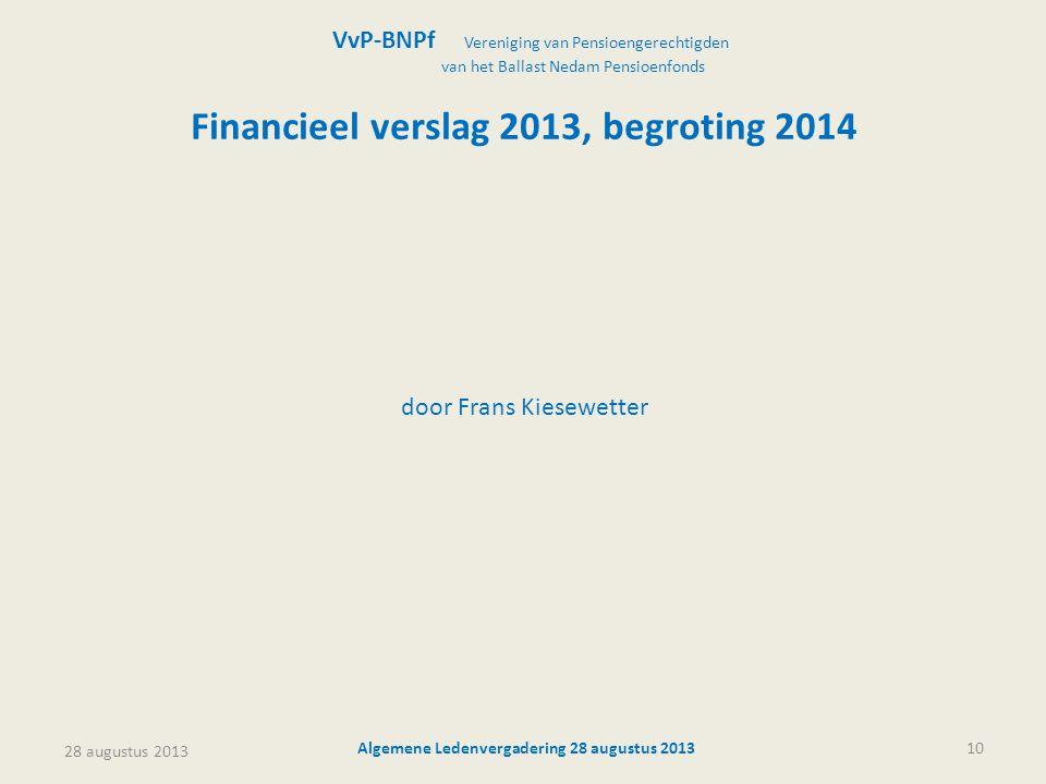 Financieel verslag 2013, begroting 2014