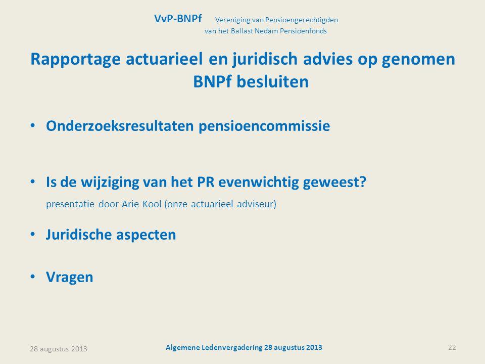 Rapportage actuarieel en juridisch advies op genomen BNPf besluiten