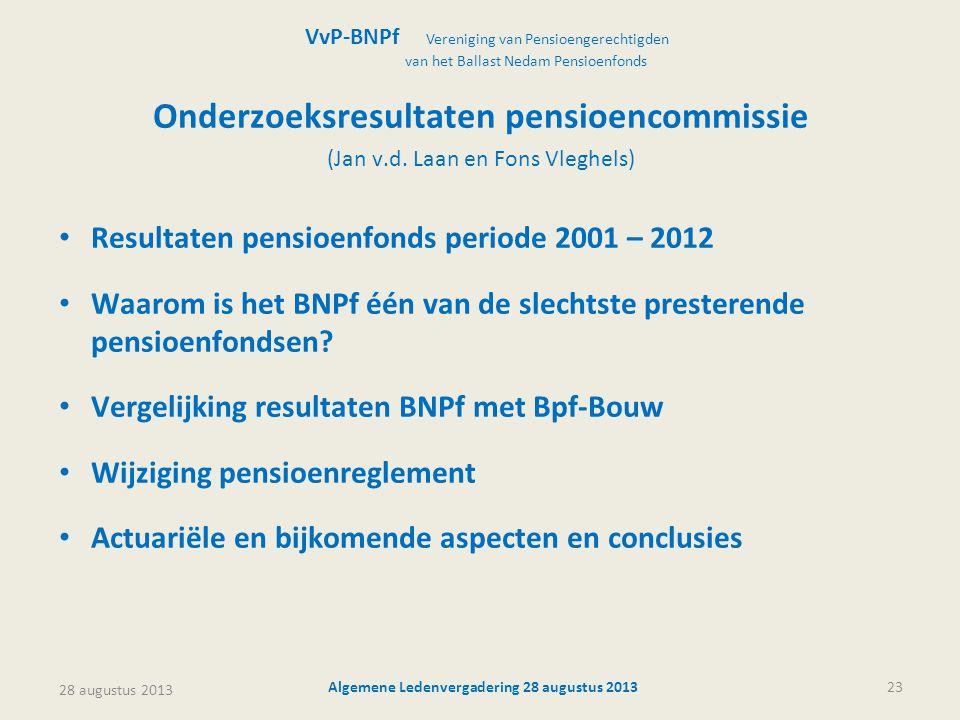 Onderzoeksresultaten pensioencommissie