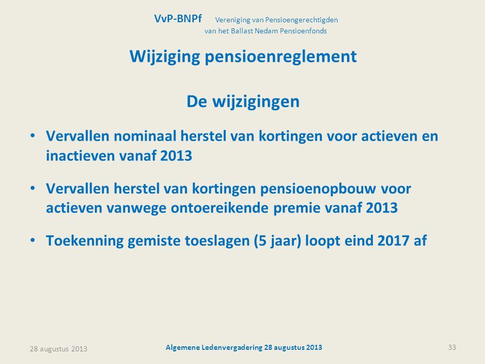 Wijziging pensioenreglement Algemene Ledenvergadering 28 augustus 2013