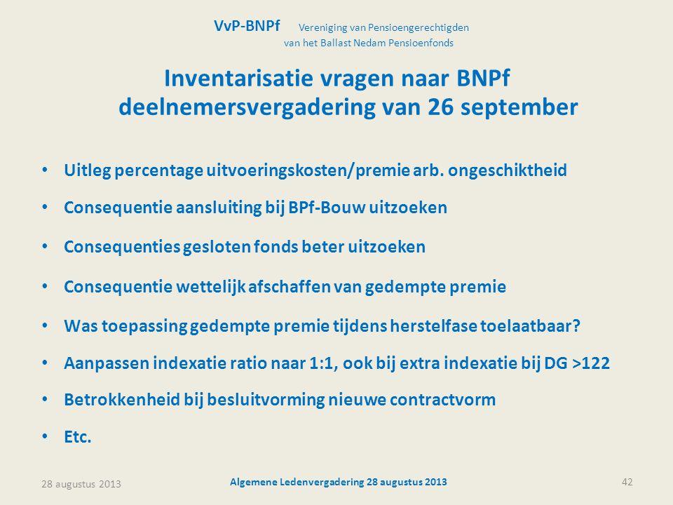 Inventarisatie vragen naar BNPf deelnemersvergadering van 26 september