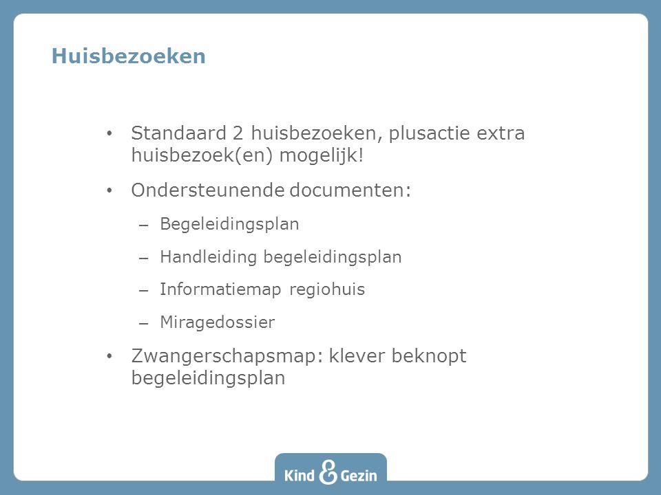 Huisbezoeken Standaard 2 huisbezoeken, plusactie extra huisbezoek(en) mogelijk! Ondersteunende documenten: