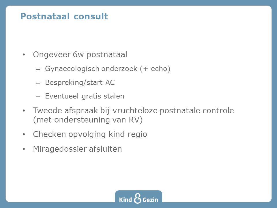 Postnataal consult Ongeveer 6w postnataal