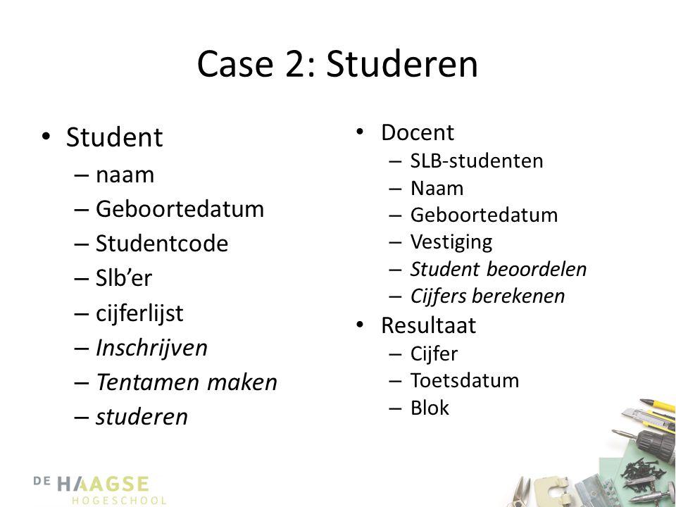 Case 2: Studeren Student naam Geboortedatum Studentcode Slb'er