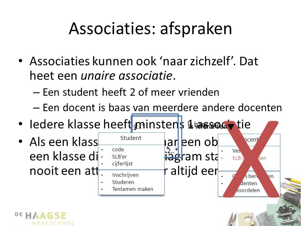 Associaties: afspraken