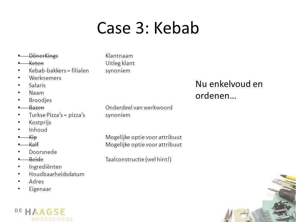 Case 3: Kebab Nu enkelvoud en ordenen… DönerKings Keten