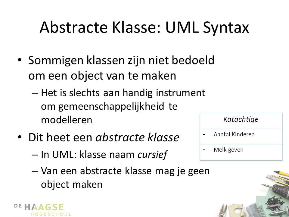 Abstracte Klasse: UML Syntax