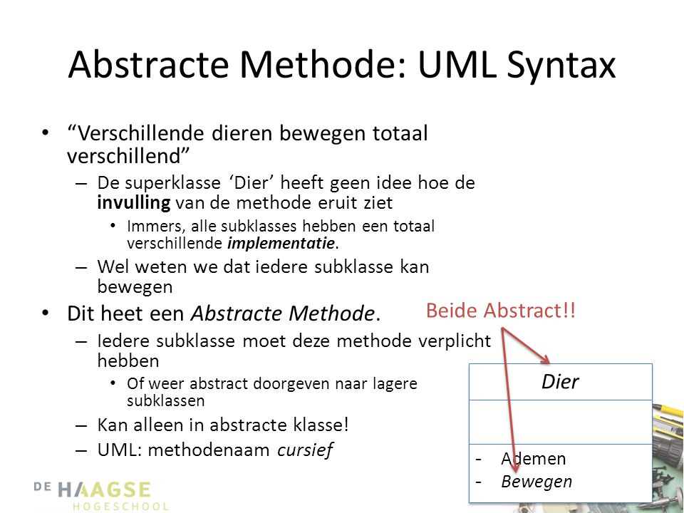 Abstracte Methode: UML Syntax