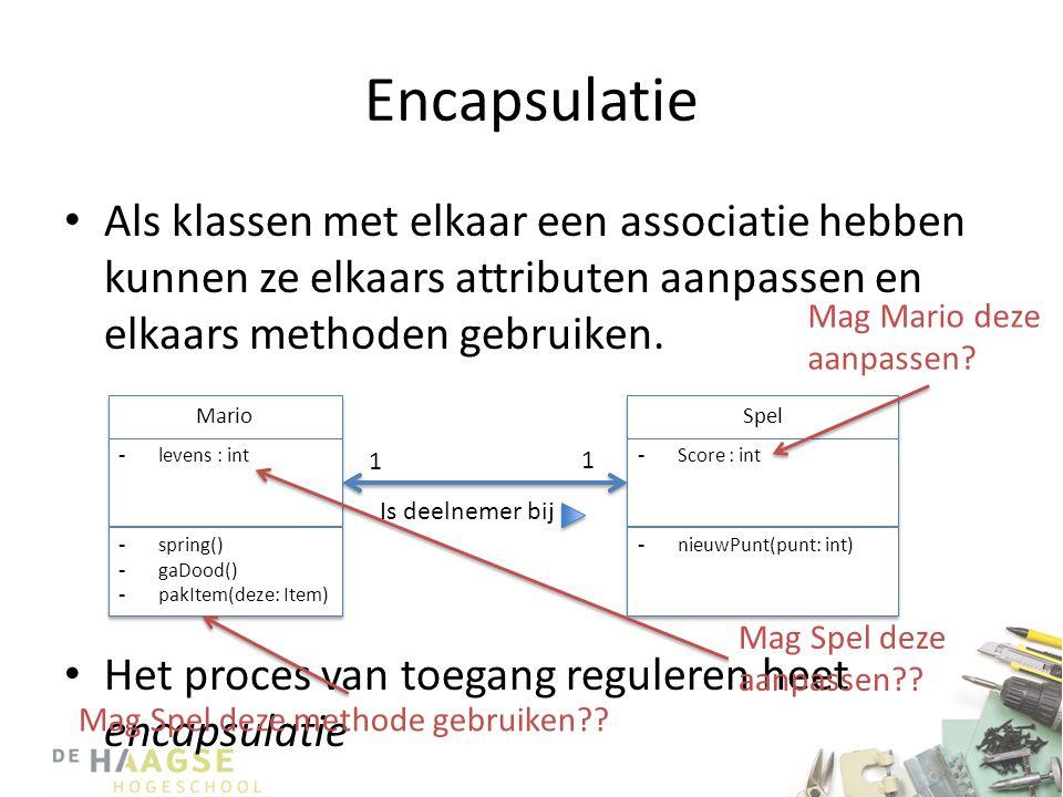 Encapsulatie Als klassen met elkaar een associatie hebben kunnen ze elkaars attributen aanpassen en elkaars methoden gebruiken.