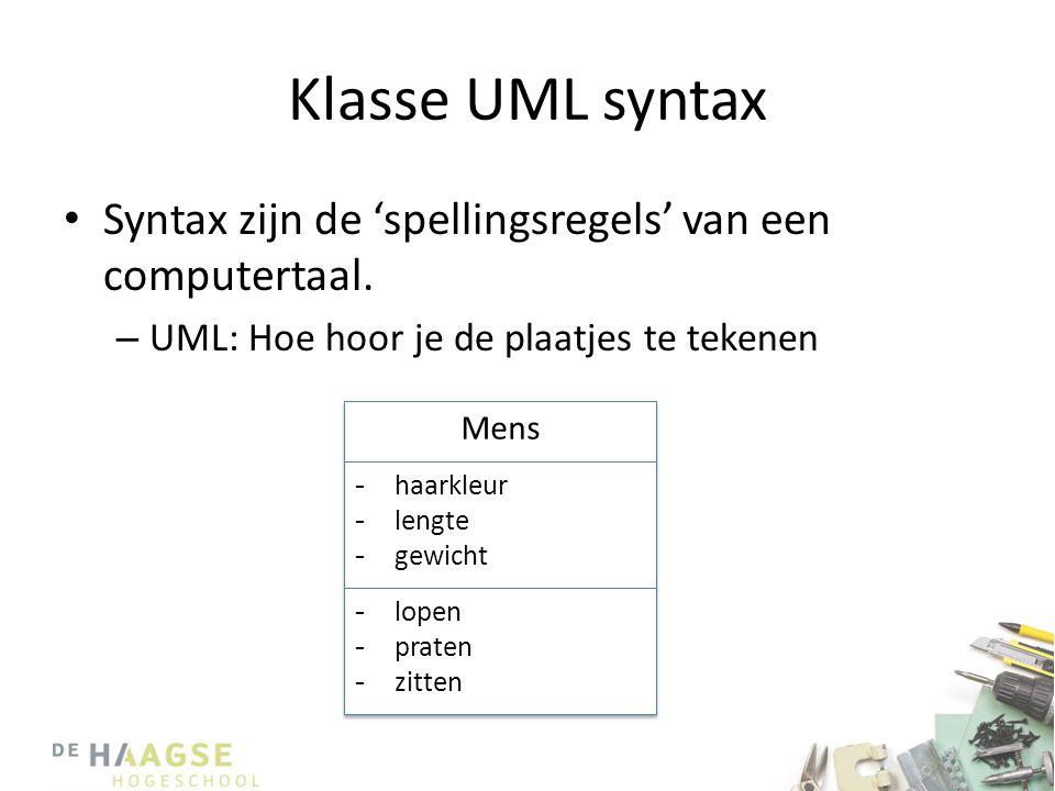 Klasse UML syntax Syntax zijn de 'spellingsregels' van een computertaal. UML: Hoe hoor je de plaatjes te tekenen.