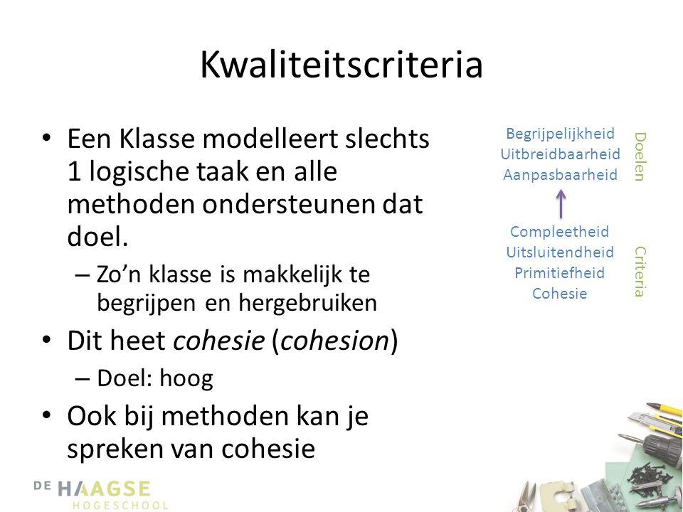 Kwaliteitscriteria Een Klasse modelleert slechts 1 logische taak en alle methoden ondersteunen dat doel.