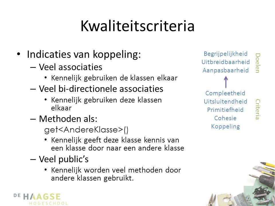 Kwaliteitscriteria Indicaties van koppeling: Veel associaties