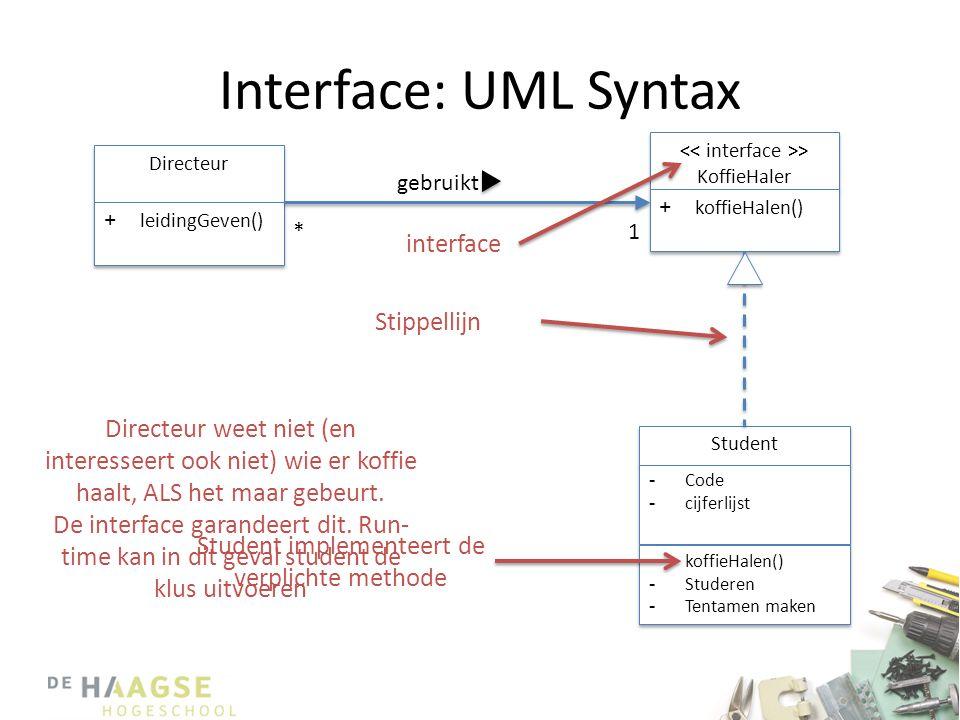 Interface: UML Syntax << interface >> KoffieHaler. koffieHalen() Directeur. leidingGeven() gebruikt.