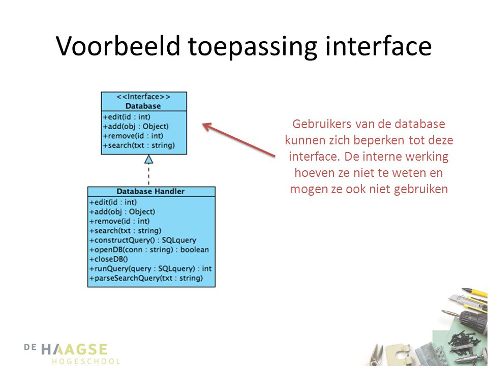 Voorbeeld toepassing interface