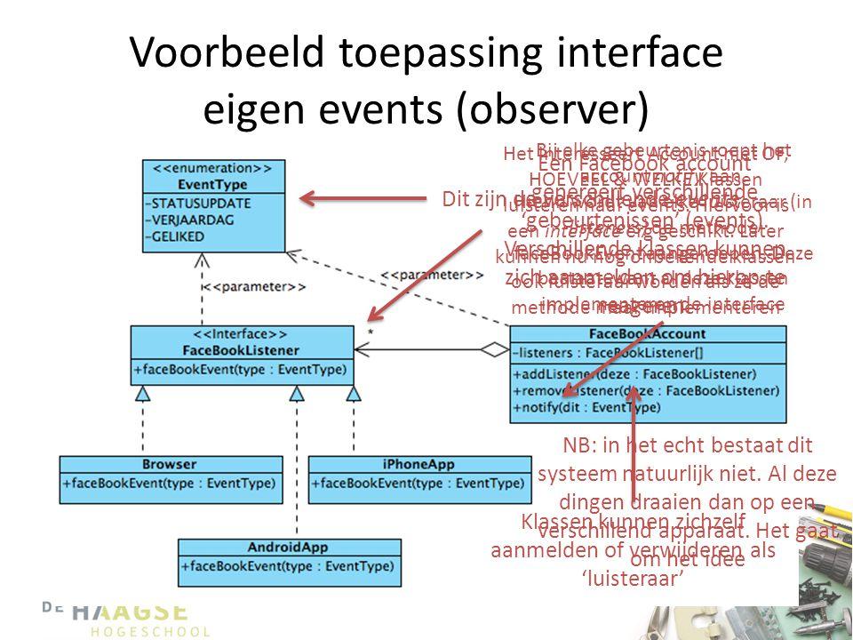 Voorbeeld toepassing interface eigen events (observer)