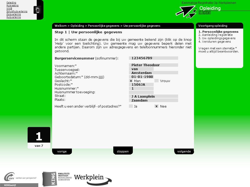 1 Opleiding X KLIKDEMO 20 Stap 1 | Uw persoonlijke gegevens