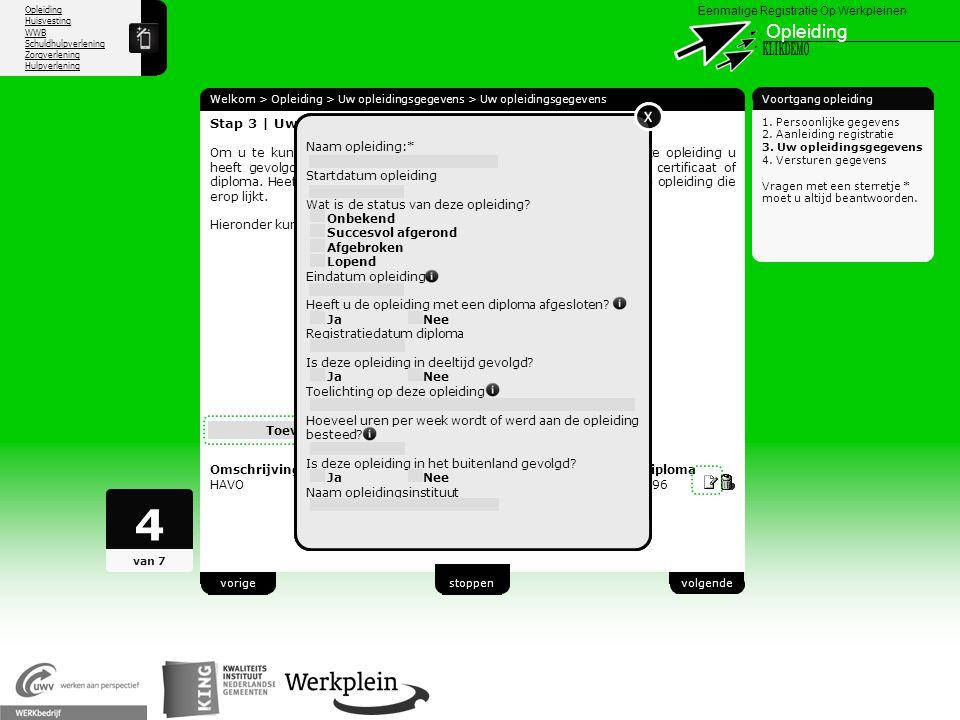 4 Opleiding KLIKDEMO X X X 23 Stap 3 | Uw opleidingsgegevens