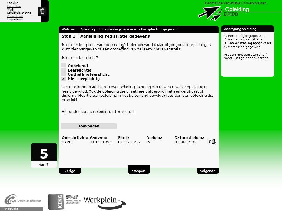 5 Opleiding X KLIKDEMO 24 Stap 3 | Aanleiding registratie gegevens