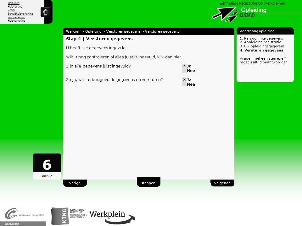 6 Opleiding X KLIKDEMO 25 Stap 4 | Versturen gegevens