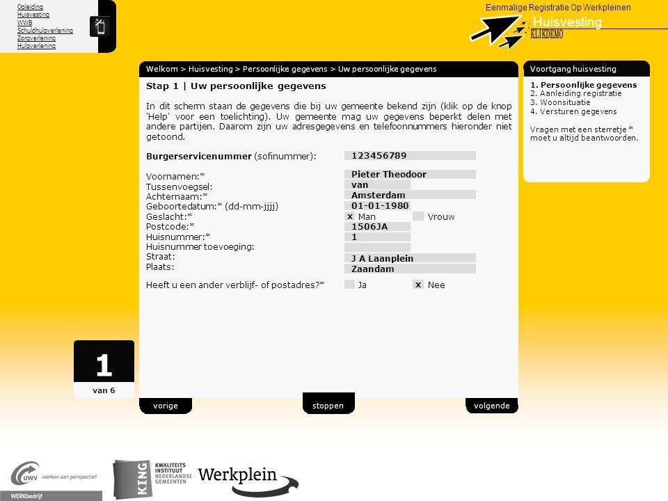1 Huisvesting X KLIKDEMO 29 Stap 1 | Uw persoonlijke gegevens